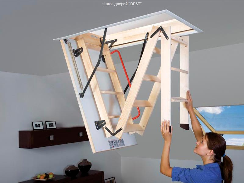 Деревянные чердачные лестницы складного типа — оптимальный вариант для загородного дома