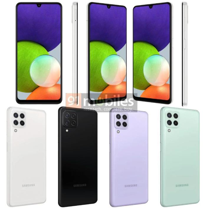 В Сеть просочились рендеры Samsung Galaxy A22 5G и Galaxy A22 4G