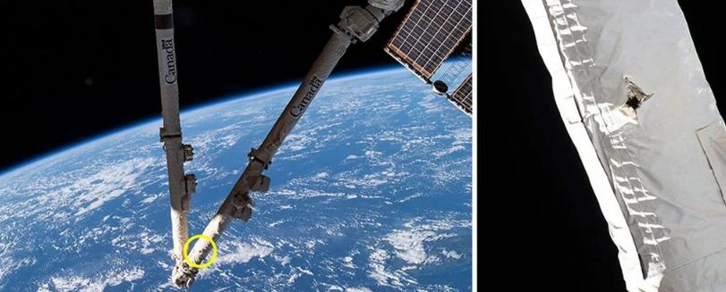 Космический мусор попал в Международную космическую станцию и повредил её